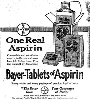 Aspirine-advertentie van Bayer.