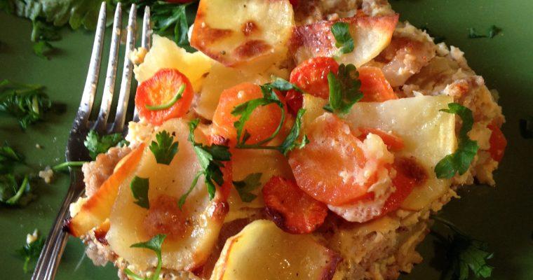 Musaka od šargarepe i krompira sa mlevenim mesom