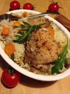 5. Poslužiti u posudi u kome se pekla piletina, ili servirati u većoj činiji uz sos od paradajza i salatu po želji. Prijatno!