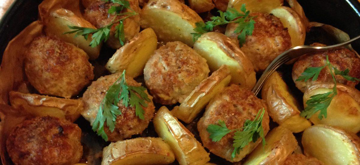 Ćufte i krompir iz rerne-brz ručak, ili večera