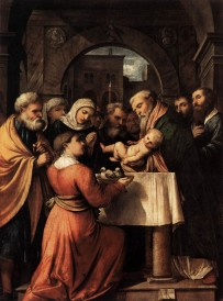 Romanino Girolamo (Italian artist, c 1484-ca 1559). Presentation of Jesus in the Temple - 1529.