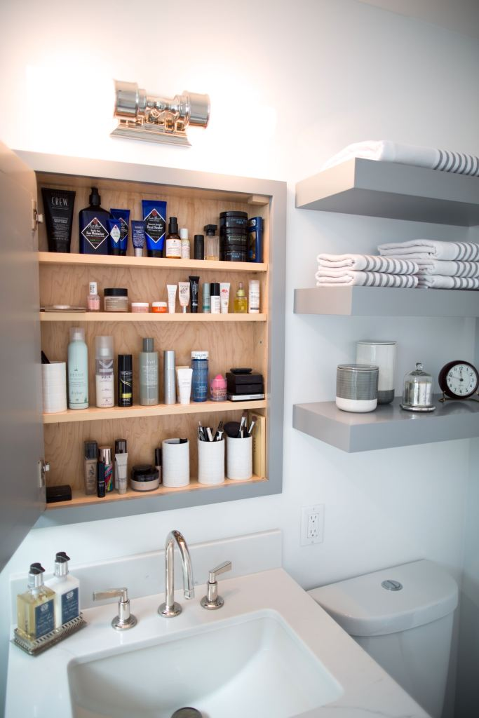 Small bathroom that is big on storage! Silicon Valley bathroom remodel!