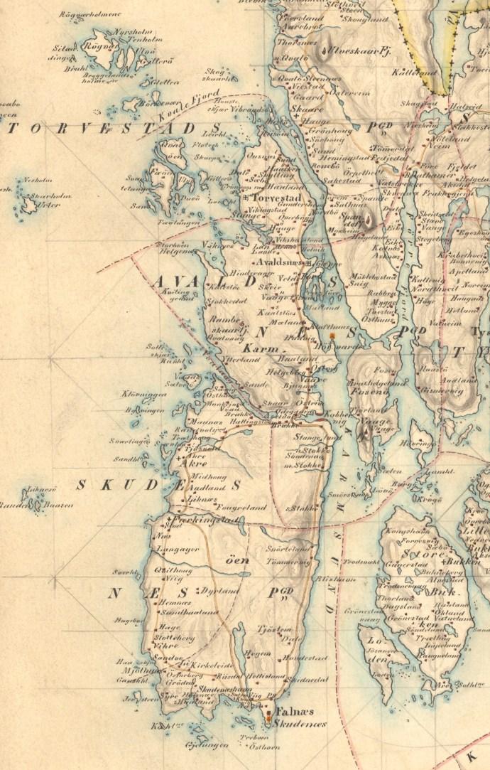 Avaldsnæs, en del av Stavanger amt 1851
