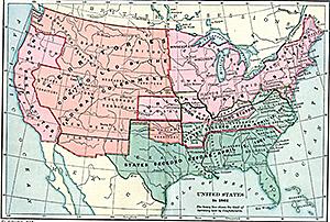 Uppdelningen mellan nord och sydstaterna i inbördeskriget 1861-1865