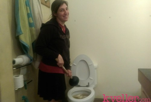 mayim-plunges-toilet
