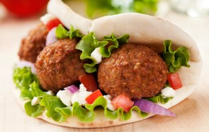 """Falafel wrap with onion, feta, tomato, and lettuce. Please see my portfolio for other food related images."""