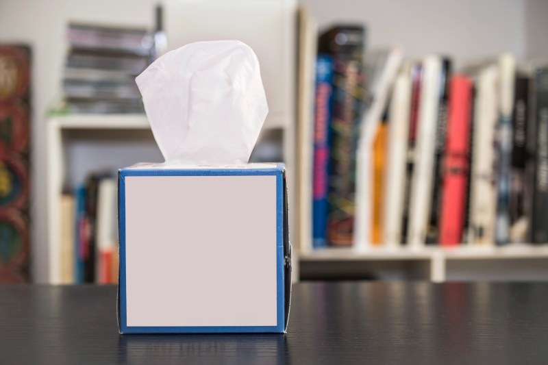 Tissue box on a table at home