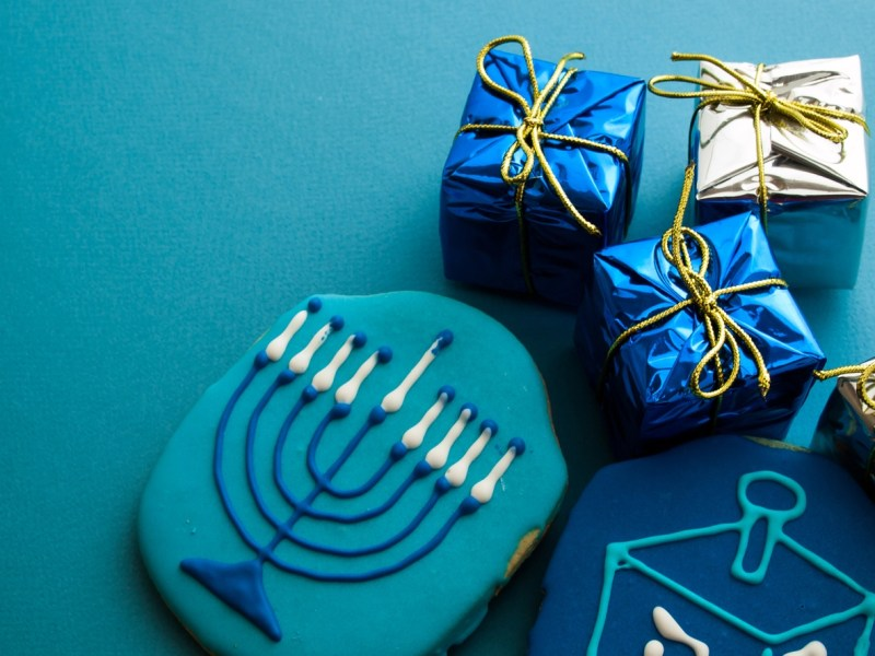 Gourmet cookies decorated for Hanukkah.