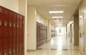 Hallway at High School with Lockers.