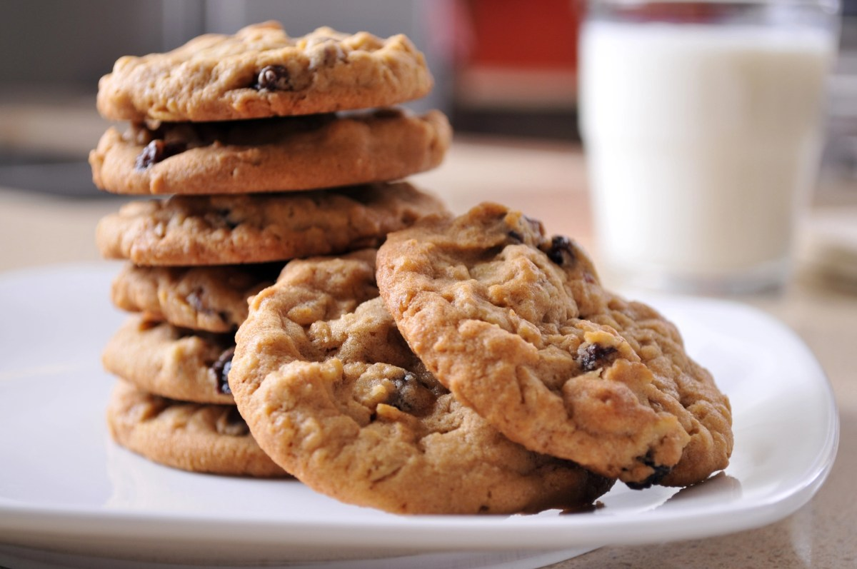 Horizontal image of a stack of warm oatmeal raisin cookies sitting on a white plate on a kitchen counter. A glass of cold milk sits in the background. Focus in on the center of the 2 cookies in the foreground.