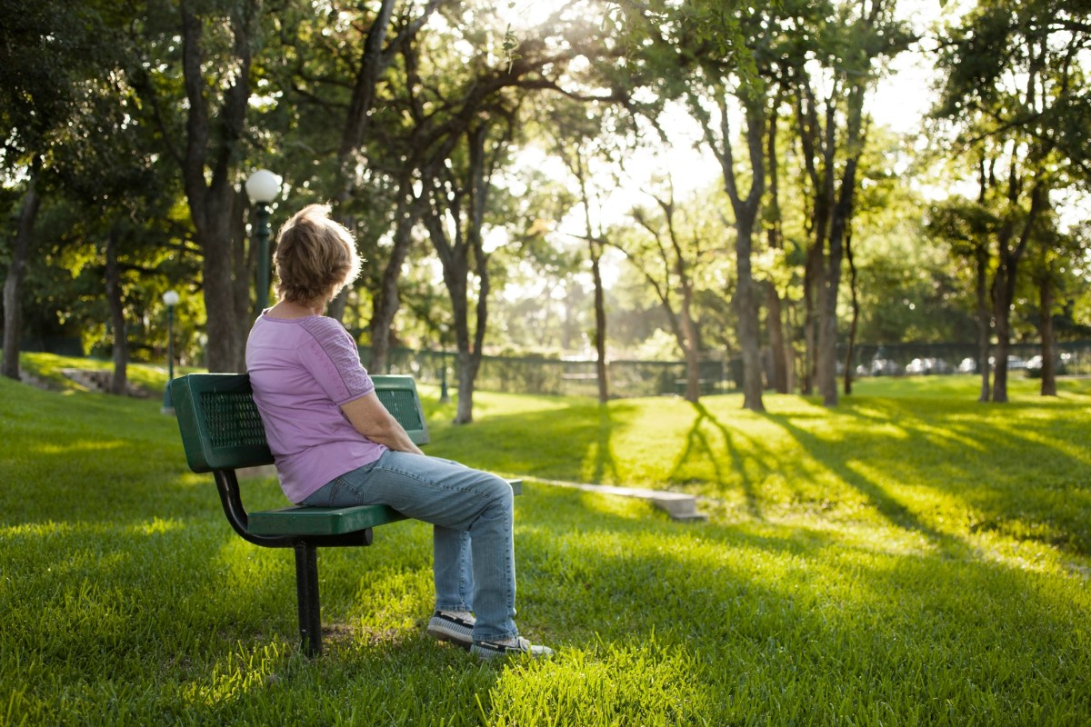 Rear view of one mature woman sitting on a park bench in the summer season. Bright sunny day with lush green grass and trees. The woman gazes off into the distance as she relaxes on a beautiful day. Solitude, lonliness, contemplation. She has short blond hair and wears a purple shirt and jeans. Copyspace to right in this tranquil nature scene.