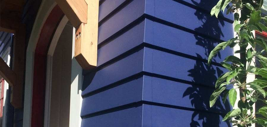 blue siding corner