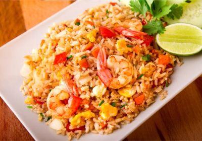 Arroz frito con gambas, arroz frito, arroz frito tailandés, cocina tailandesa