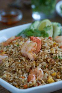arroz frito, arroz frito con langostinos, arroz frito tailandés, arroz frito con camarones, arroz frito thai