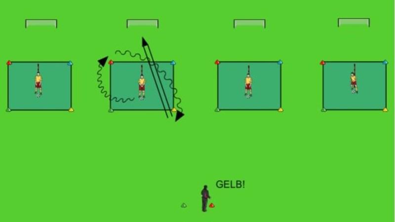 Schnelligkeitstraining mit Ball: Farbenspiele