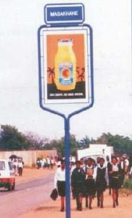 This is an example of pole frames which, Thabazimbi Municipality proposes, should be used for road side advertising.