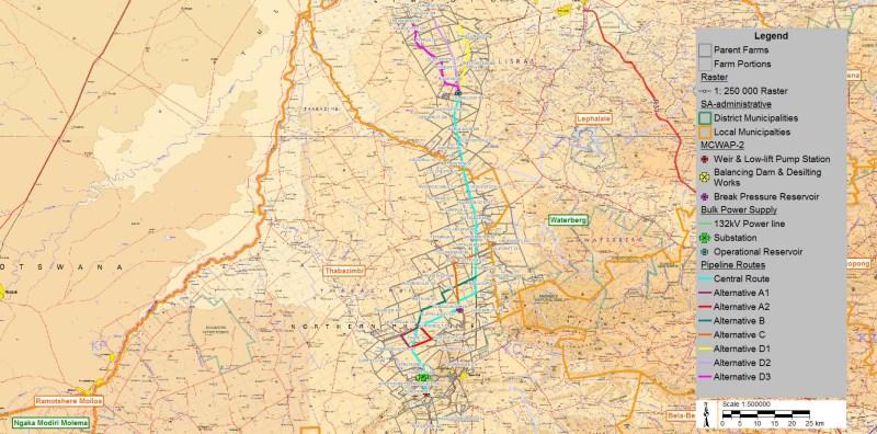 Die kaart dui aan hoe u grond moontlik deur die projekinfrastruktuur beïnvloed sal word.