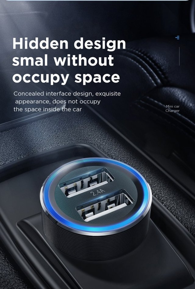 JOYROOM Fast Charger Mini Dual Port USB Car Charger 2.4A