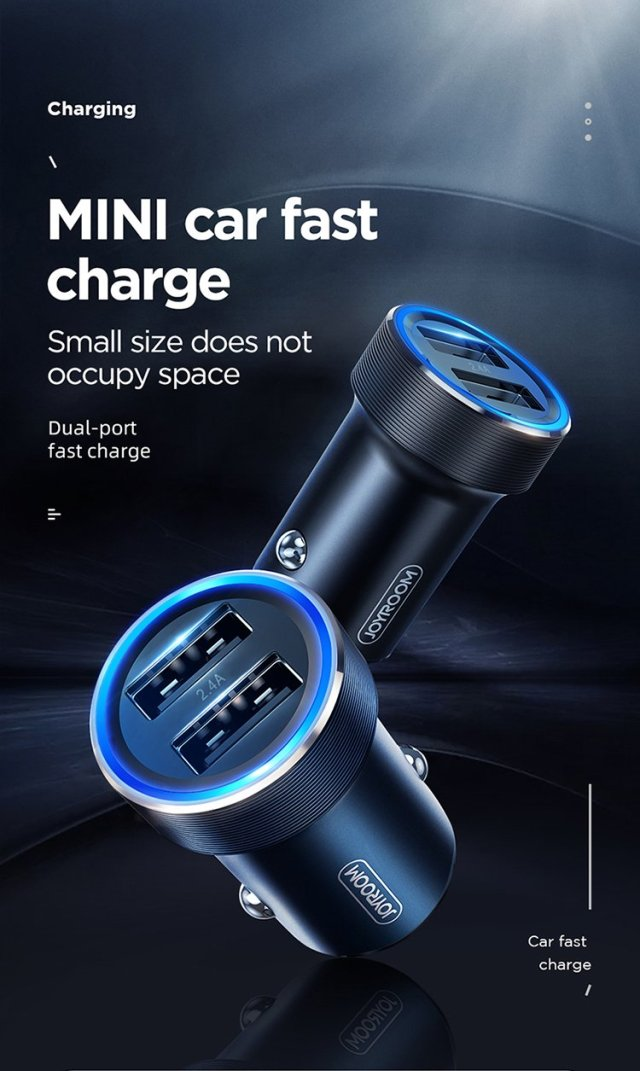 JOYROOM Fast Charger Mini Dual Port USB Car Charger 2.4A
