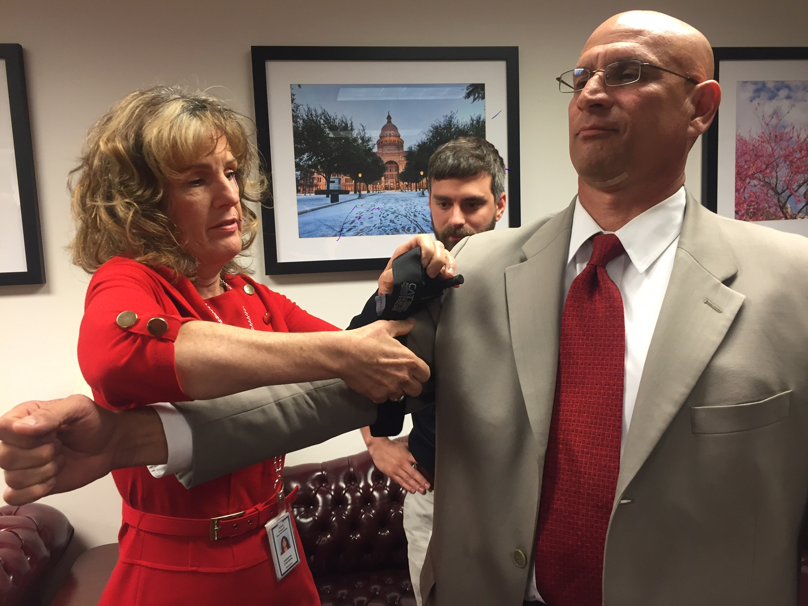 Application of a tourniquet to control bleeding demonstrated at the Stop the Bleed event at the State Capitol, Monday, May 9_282851