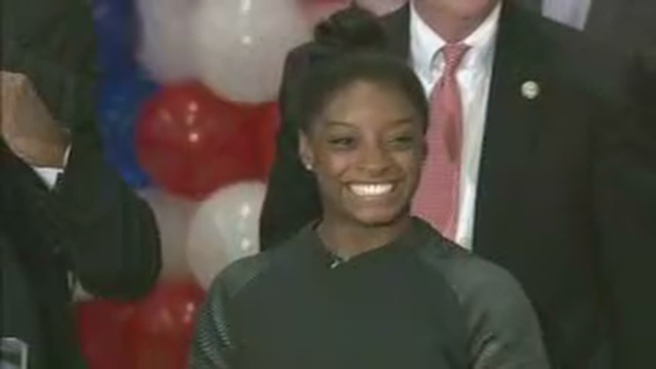Simone Biles returns to Houston, greeted with celebrations and applause