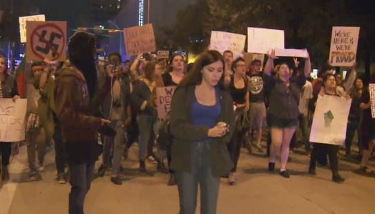 Anti-Trump protests take over Austin streets for the second night. Nov. 10, 2016_373336