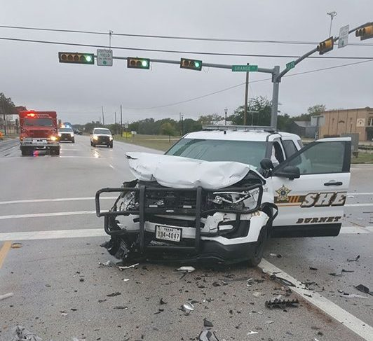 Burnet County deputy injured in crash at Grange Street and SH 29 in Bertram on Nov. 8, 2017 (Bertram Police Department Photo)_578445