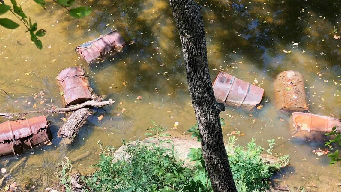 Barrels found dumped in the North Fork San Gabriel