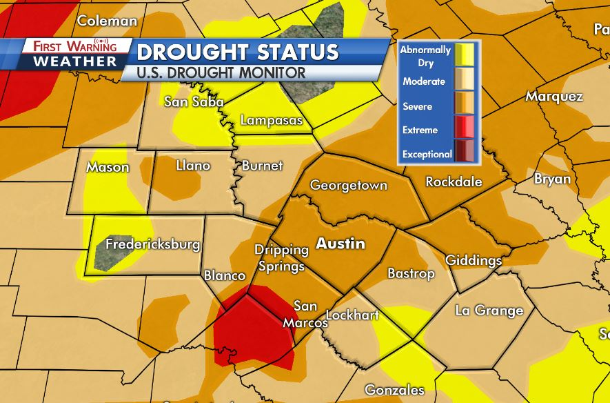 Extreme drought returns to parts of Central Texas | KXAN.com on texas energy map, texas disease map, texas stream map, texas climate map, texas drainage map, texas coastal management map, the woodlands texas faultlines map, texas light map, texas cold front map, texas tsunami map, texas migration map, texas ozone map, texas fall color map, texas wildfires, texas highway 16 map, texas blizzard map, texas arizona new mexico map, plant native texas regions map, texas record cold map, texas air mass map,