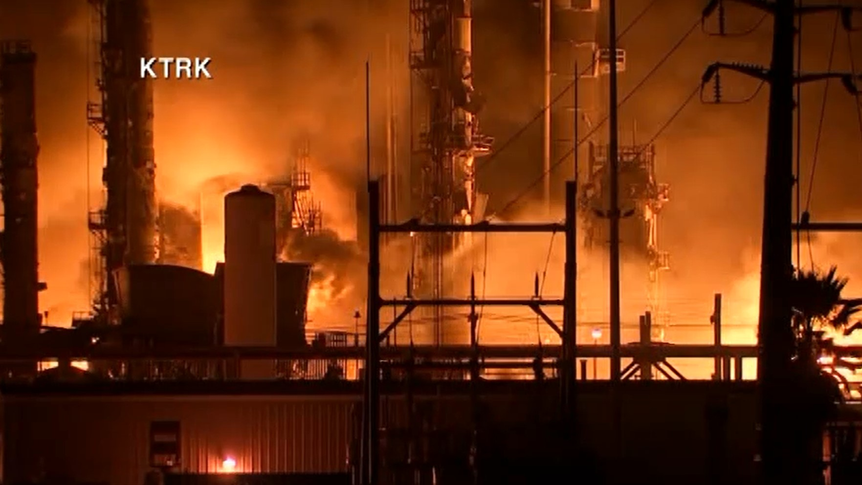 Flames after a Port Neches plant explosion