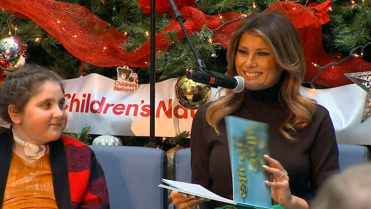 melania reading christmas book