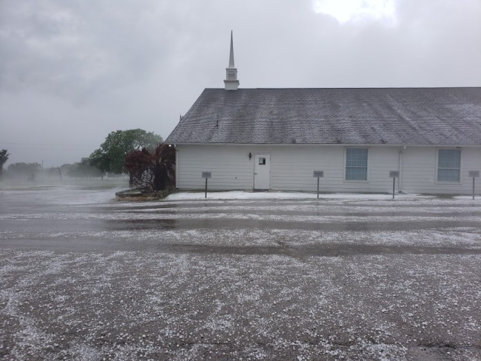 Hail on the ground at Primitive Baptist Church in Burnet, Texas after severe storm April 15, 2021 (Photo: Rachel Bryson)