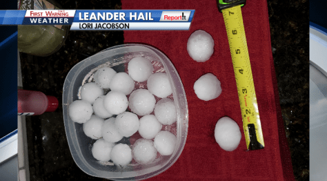 PHOTOS: Hail pummels parts of Burnet, Williamson Counties