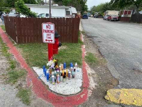 Memorial for juvenile victim killed in north Austin shooting on Sunday, April 25, 2021 (KXAN Photo/Alex Caprariello)