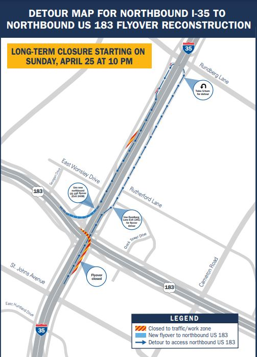 TxDOT map explaining the detour for the northbound I-35 to northbound U.S. 183 flyover. The flyover is closing for a few months for reconstruction. (Map: TxDOT)