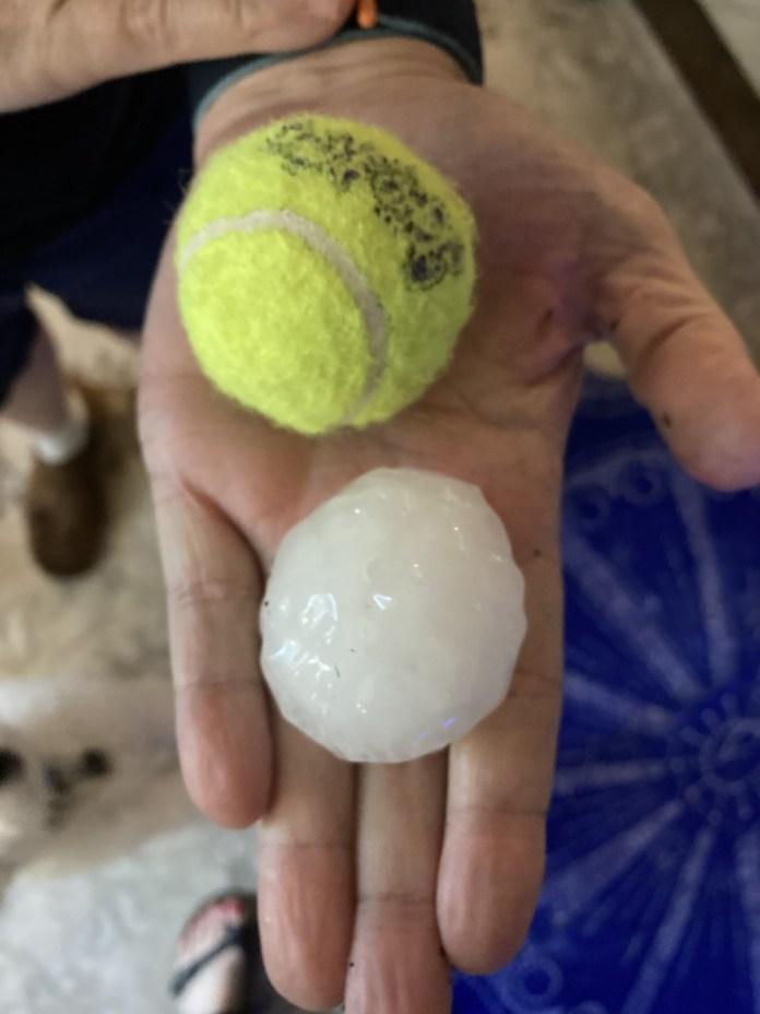 Nearly tennis ball-sized hail in Round Rock (Courtesy Greg Gotham)