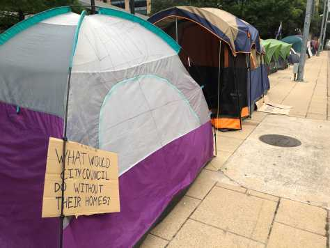 Austin City Hall surrounded with tents in camp-in protest against new public camping ban