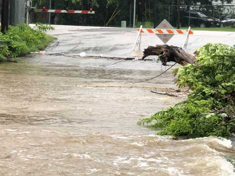 Flooding at a low water crossing at Joe Tanner Lane and Highway 290 June 3, 2021 (KXAN Photo/Frank Martinez)