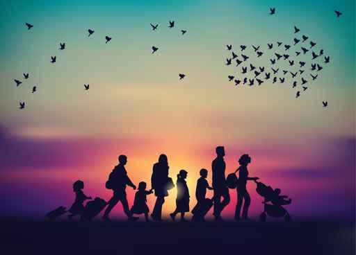 Emigration family sky and birds silhouette._1559585898195