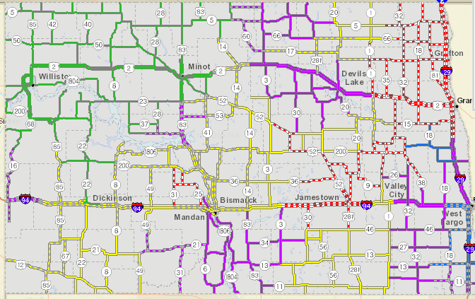 Travel Conditions decline across the state   KX NEWS on north dakota rd map, weather forecast fargo north dakota, harvey north dakota map, nd road map, fargo north dakota map, north dakota official highway map, nddot road map,