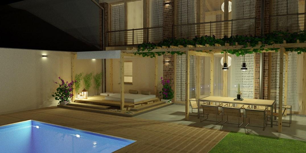 Villa - Particolare del portico - Visione notturna