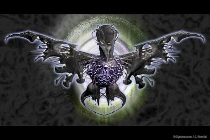 Strange black bird design in the Meta Objects style on dark background by Kyesos