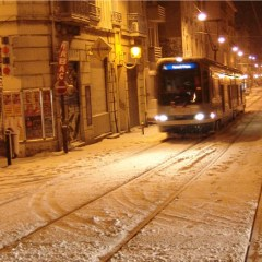 winter tramway in grenoble by Kyesos