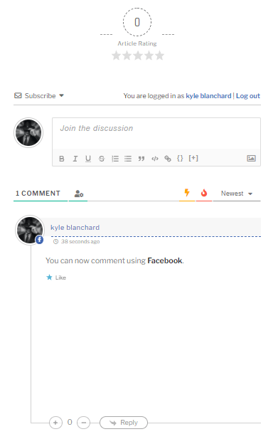 A sample comment on kylecblanchard.net using Facebook (the link opens in a new tab) account social login
