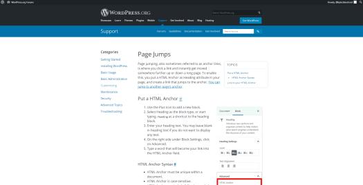https://wordpress.org/support/article/page-jumps/ screenshot