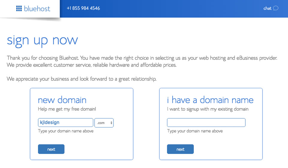 bluehost enter domain name