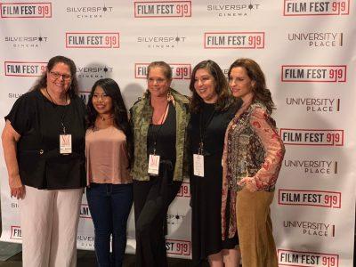 Carol Marshall, Roma star Yalitza Aparicio, Randi Emerman, Claudia Puig and Roma co-star Marina De Tavira on the red carpet at Film Fest 919.