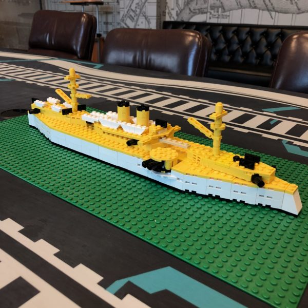 LEGO model of the USS Maine.