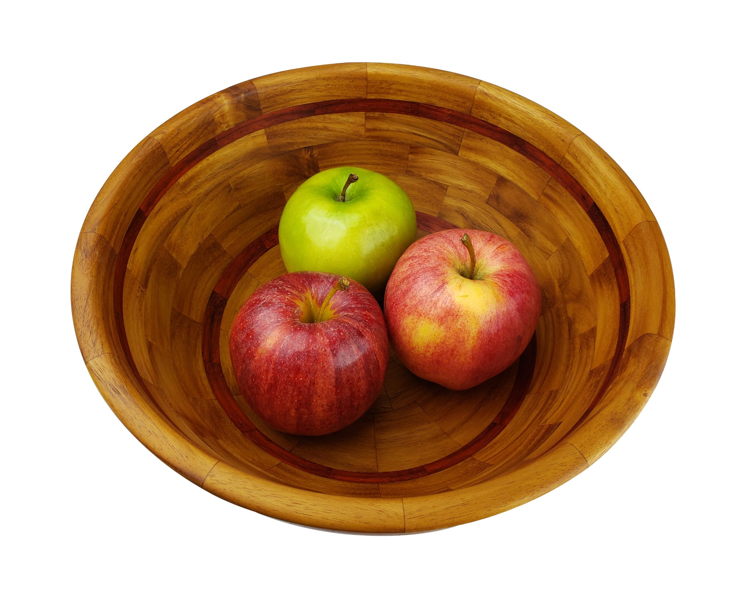 Teak Salad Bowl, full view, down, with apples