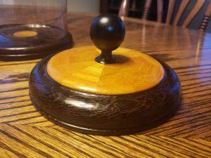 Wenge & Osage Orange Display Jar - close up of lid